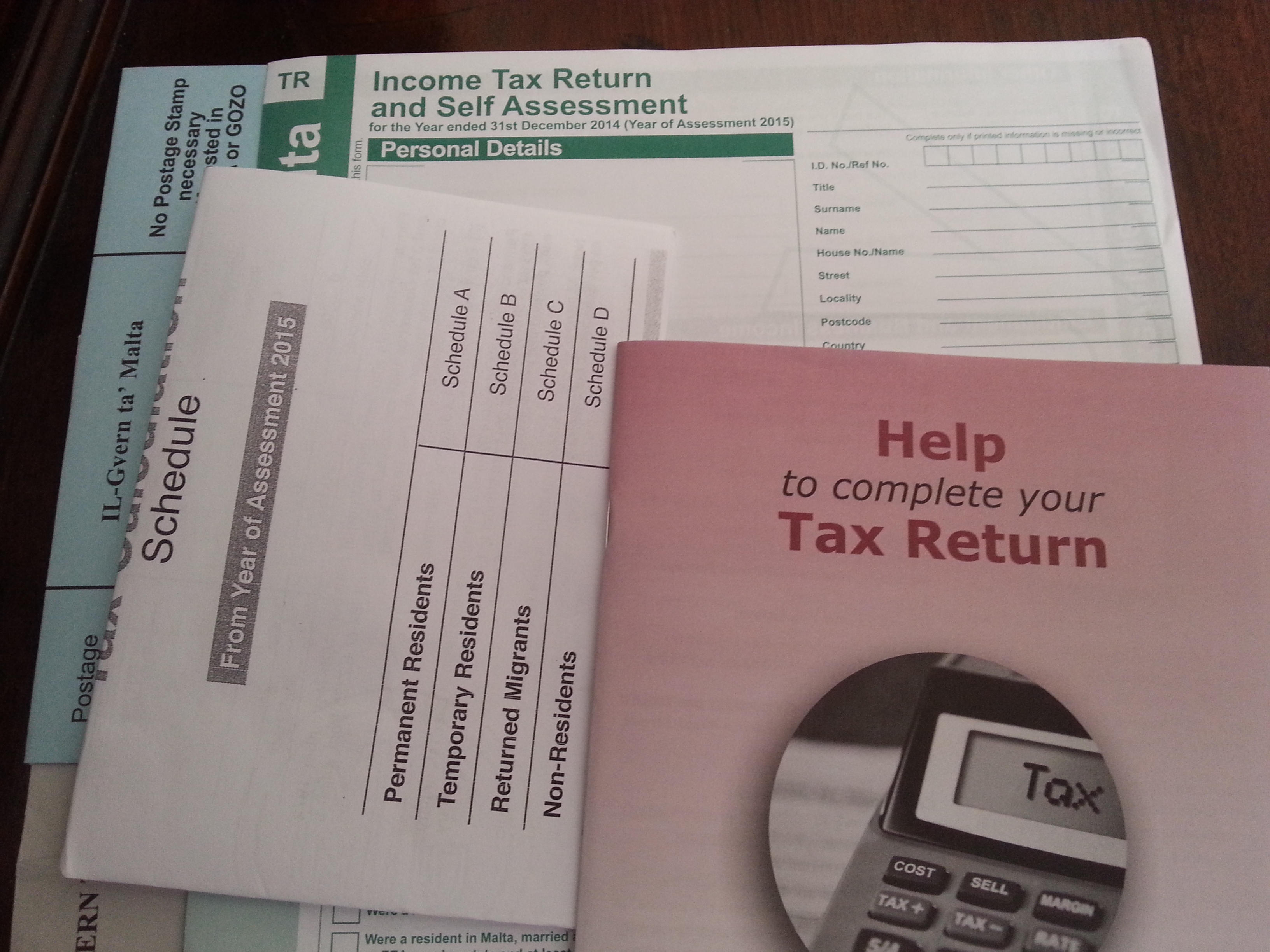 ... Income Tax Return And Self Assessment For 2014 Due By 30th June 2015 ...  Income Assessment Form