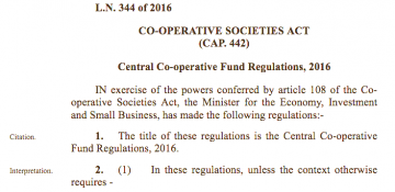 The Central Co-operative Fund Regulations 2016 – Committee and Funding