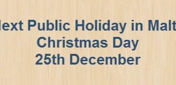 Next Public Holiday – Christmas Day – 25th December