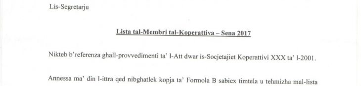 Form B – Co-operative Members submission 2017