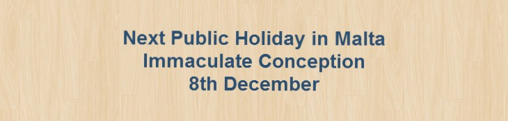 Next Public Holiday – Feast of the Immaculate Conception – 8th December