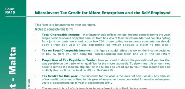RA15 Form – MicroInvest Tax Credit Claim Form