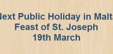 Next Public Holiday – Feast of St. Joseph – 19th March