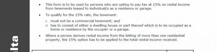 Malta | Tax on Residential Rentals – TA24 – 30th June