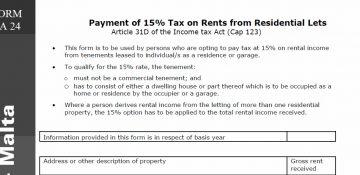 Malta | Tax on Residential Rentals Basis 2015 – TA24 – 30th June 2016